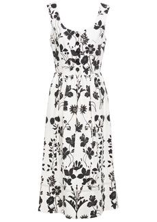 Oscar De La Renta Woman Gathered Floral-print Cotton-blend Twill Midi Dress White