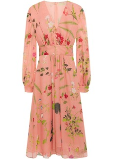 Oscar De La Renta Woman Gathered Floral-print Silk-georgette Midi Dress Blush