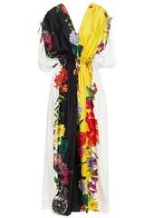 Oscar De La Renta Woman Gathered Floral-print Silk-twill Maxi Dress Multicolor