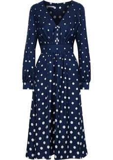 Oscar De La Renta Woman Gathered Polka-dot Silk-twill Dress Midnight Blue