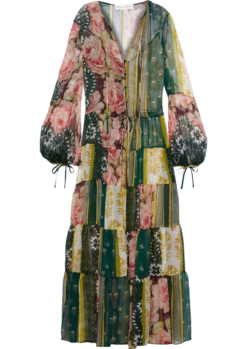 Oscar De La Renta Woman Gathered Printed Silk-chiffon Maxi Dress Dark Green