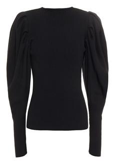 Oscar De La Renta Woman Gathered Ribbed Wool Sweater Black