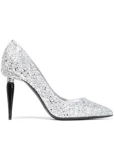 Oscar De La Renta Woman Glittered Canvas Pumps Silver