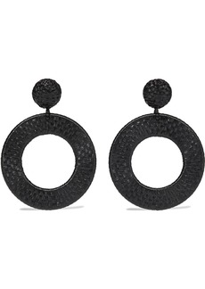 Oscar De La Renta Woman Gold-tone And Faux Raffia Clip Earrings Black