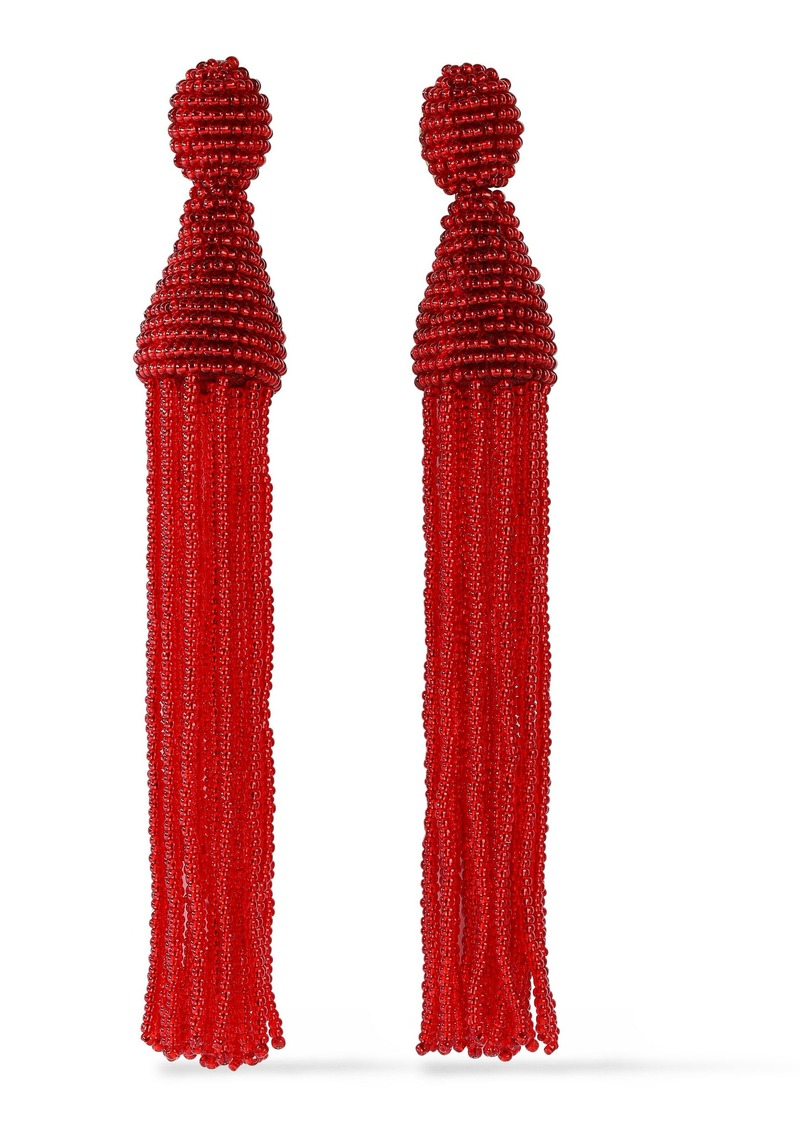 Oscar De La Renta Woman Gold-tone Beaded Tassel Clip Earrings Red