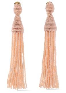 Oscar De La Renta Woman Gold-tone Beaded Tassel Clip Earrings Blush