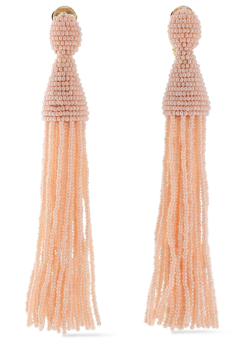 Oscar De La Renta Woman Gold-tone Beaded Tassel Clip Earrings Blush