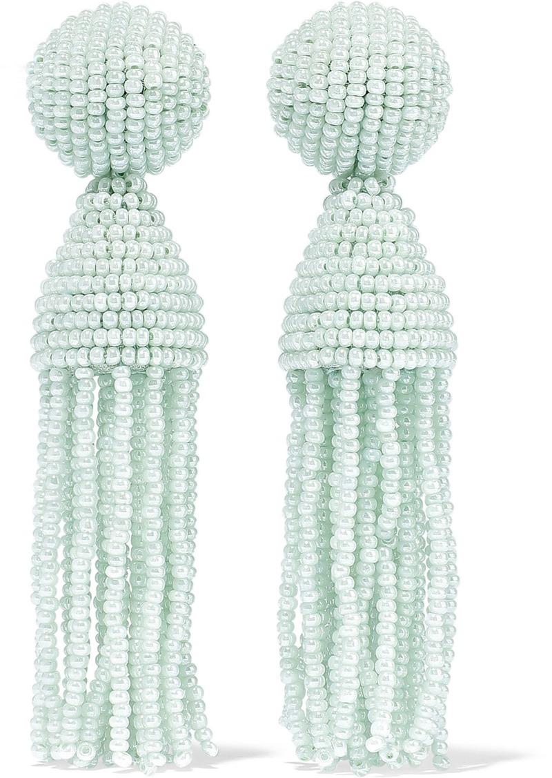 Oscar De La Renta Woman Gold-tone Beaded Tassel Clip Earrings Mint