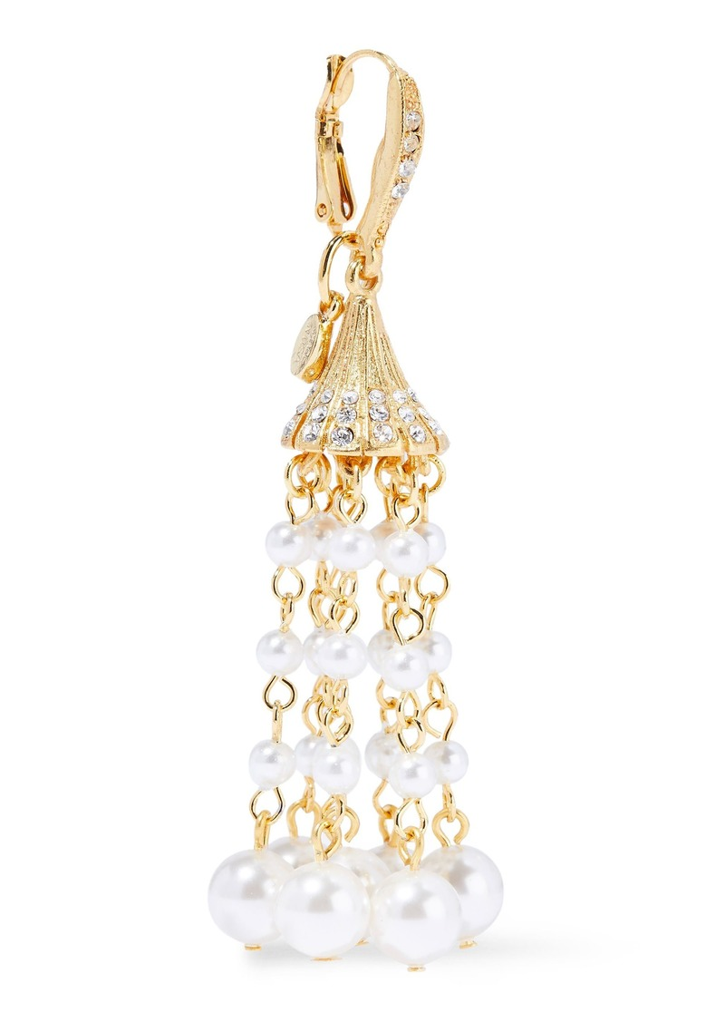 Oscar De La Renta Woman Gold-tone Crystal And Faux Pearl Earrings Gold