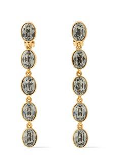 Oscar De La Renta Woman Gold-tone Crystal Clip Earrings Gold