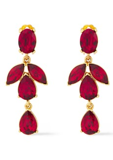 Oscar De La Renta Woman Gold-tone Crystal Clip Earrings Crimson