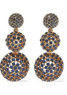 Oscar De La Renta Woman Gold-tone Crystal Clip Earrings Gold