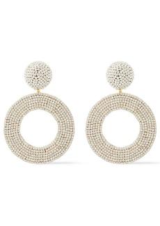 Oscar De La Renta Woman Gold-tone Crystal Earrings Silver