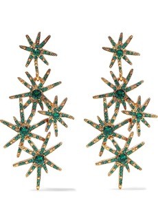 Oscar De La Renta Woman Gold-tone Crystal Earrings Emerald