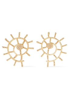Oscar De La Renta Woman Gold-tone Crystal Earrings Gold