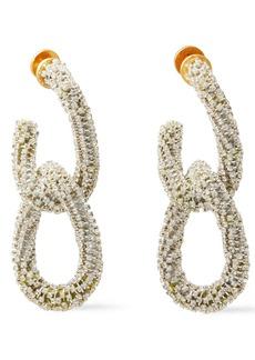 Oscar De La Renta Woman Gold-tone Crystal Earrings Platinum
