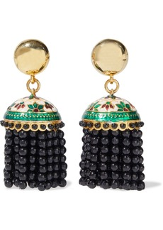 Oscar De La Renta Woman Gold-tone Enamel And Bead Tassel Clip Earrings Black