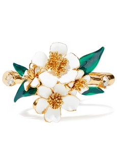 Oscar De La Renta Woman Gold-tone Enamel And Crystal Bangle White