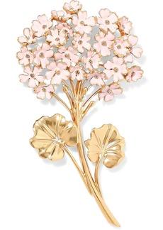 Oscar De La Renta Woman Gold-tone Enamel Brooch Baby Pink