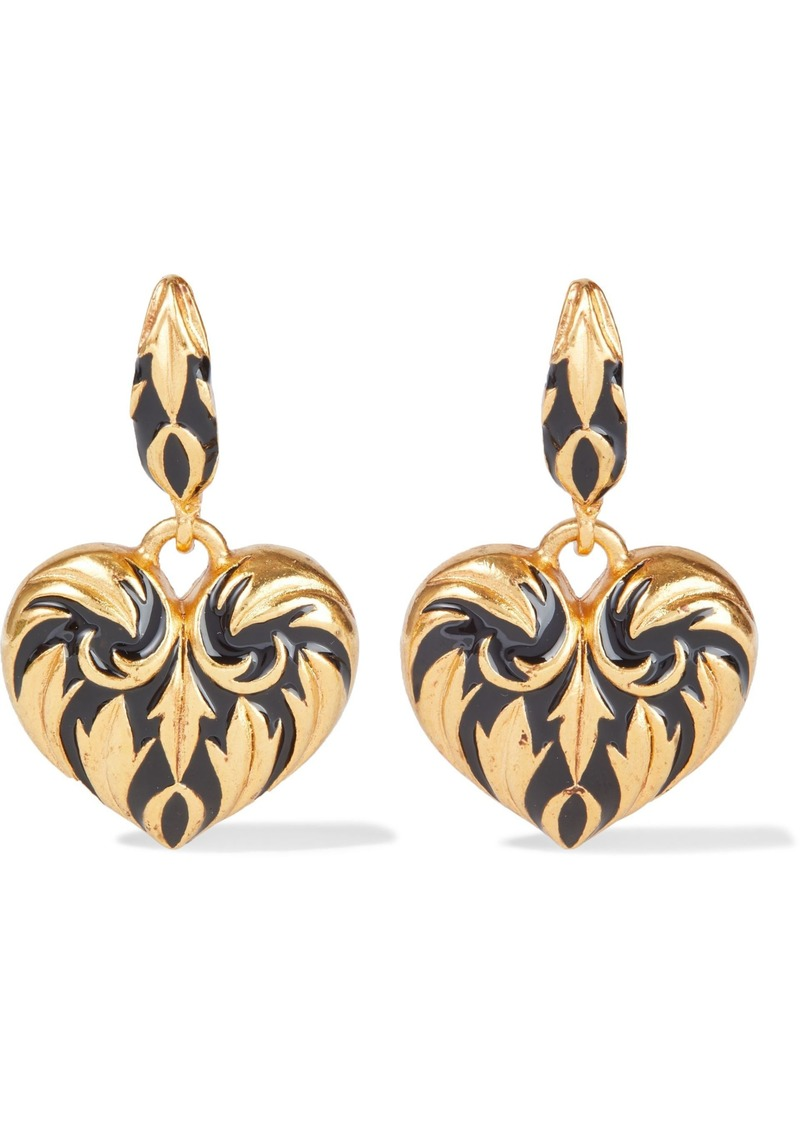 Oscar De La Renta Woman Gold-tone Enamel Earrings Gold