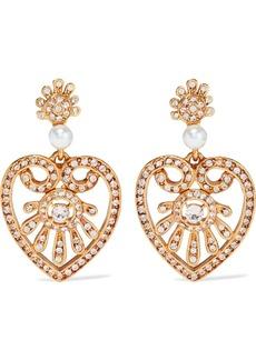 Oscar De La Renta Woman Gold-tone Faux Pearl And Crystal Clip Earrings Gold