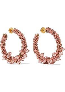 Oscar De La Renta Woman Gold-tone Faux Pearl Bead And Crystal Earrings Baby Pink