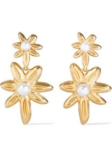Oscar De La Renta Woman Gold-tone Faux Pearl Clip Earrings Gold