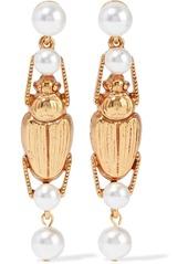 Oscar De La Renta Woman Gold-tone Faux Pearl Earrings Gold
