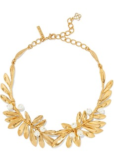 Oscar De La Renta Woman Gold-tone Faux Pearl Necklace Gold