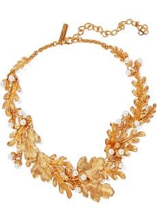 Oscar De La Renta Woman Gold-tone Faux Pearl Necklace Gold