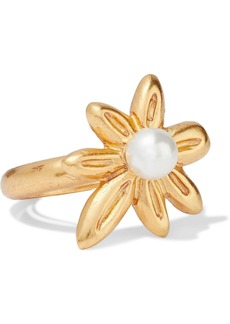 Oscar De La Renta Woman Gold-tone Faux Pearl Ring Gold