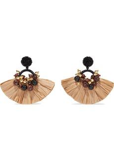 Oscar De La Renta Woman Gold-tone Faux Raffia And Bead Earrings Light Brown