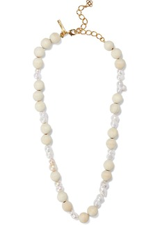 Oscar De La Renta Woman Gold-tone Freshwater Pearl And Wood Necklace Gold