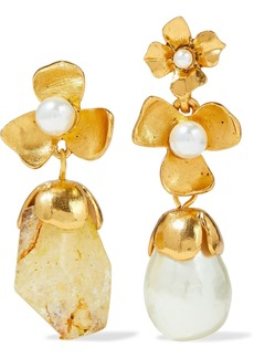 Oscar De La Renta Woman Gold-tone Quartz And Faux Pearl Earrings Gold