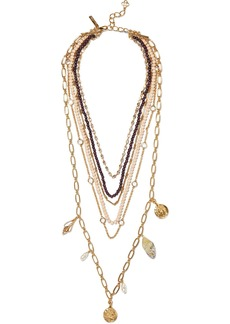 Oscar De La Renta Woman Gold-tone Quartz Crystal And Bead Necklace Gold