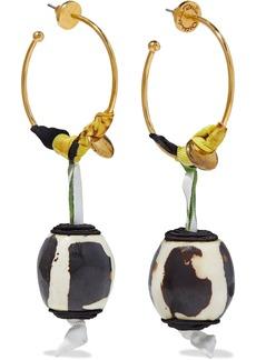 Oscar De La Renta Woman Gold-tone Ribbon And Wood Hoop Earrings Black