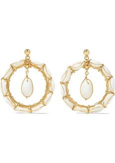 Oscar De La Renta Woman Gold-tone Shell Hoop Earrings White