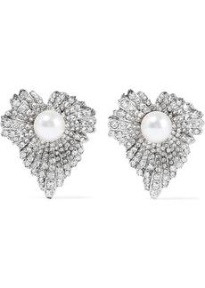 Oscar De La Renta Woman Grape Leaf Silver-tone Faux Pearl And Crystal Earrings Silver