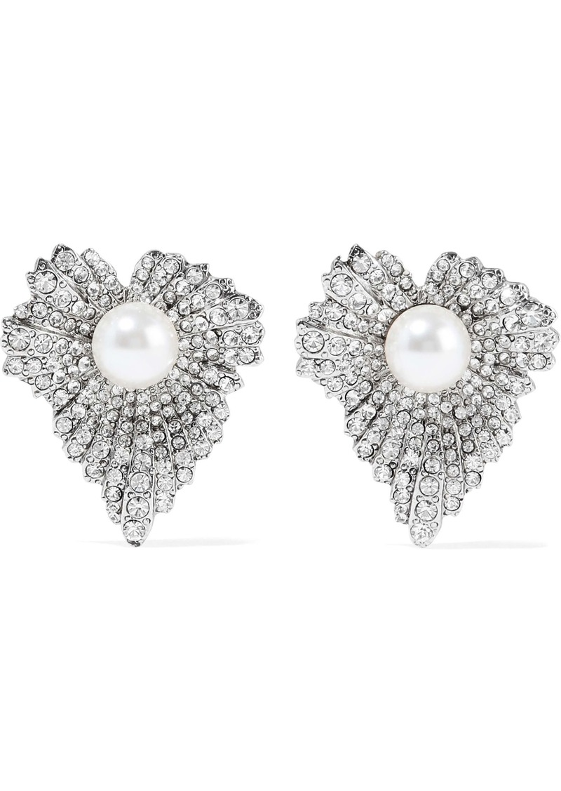 Oscar De La Renta Woman Grape Leaf Silver-tone Faux Pearl And Crystal Earrings Silver