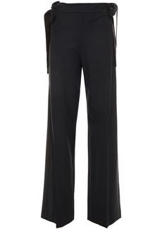Oscar De La Renta Woman Grosgrain-trimmed Stretch-wool Twill Wide-leg Pants Black