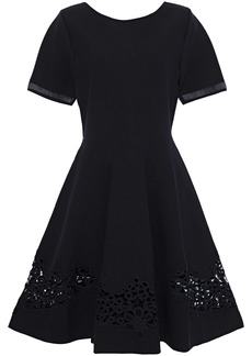 Oscar De La Renta Woman Flared Guipure Lace-appliquéd Ponte Dress Black