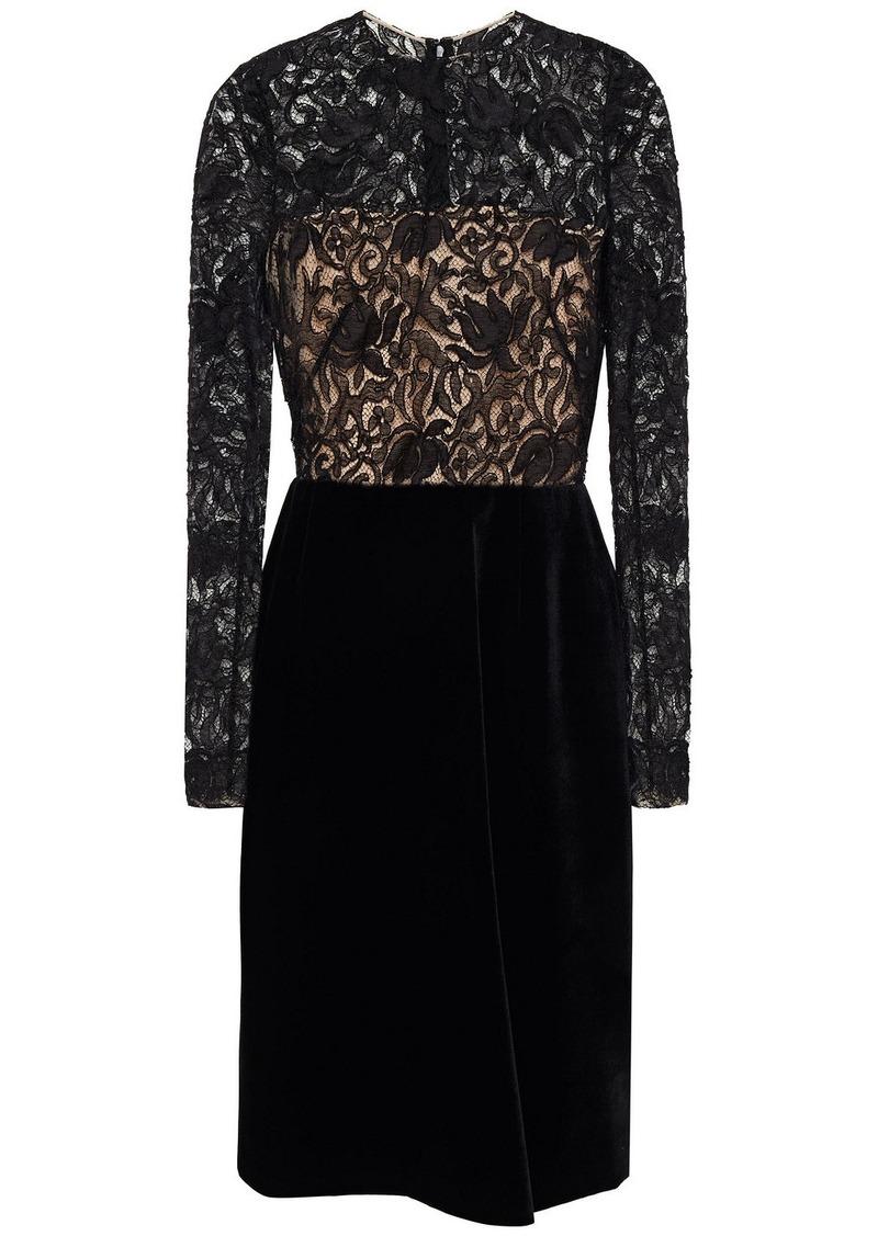 Oscar De La Renta Woman Guipure Lace-paneled Velvet Dress Black