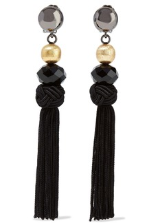 Oscar De La Renta Woman Gunmetal And Gold-tone Bead And Tassel Clip Earrings Black