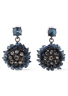 Oscar De La Renta Woman Gunmetal-tone Crystal And Bead Earrings Navy