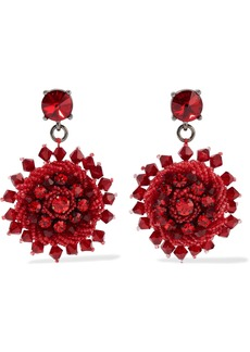 Oscar De La Renta Woman Gunmetal-tone Crystal And Bead Earrings Red
