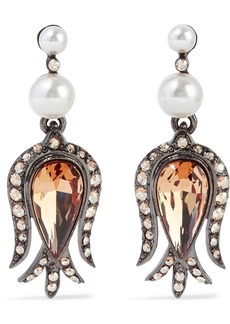 Oscar De La Renta Woman Gunmetal-tone Crystal And Faux Pearl Earrings Gold
