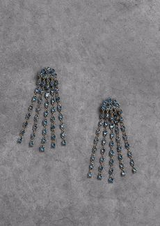 Oscar De La Renta Woman Gunmetal-tone Crystal Clip Earrings Blue