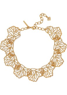 Oscar De La Renta Woman Hammered Gold-tone Necklace Gold