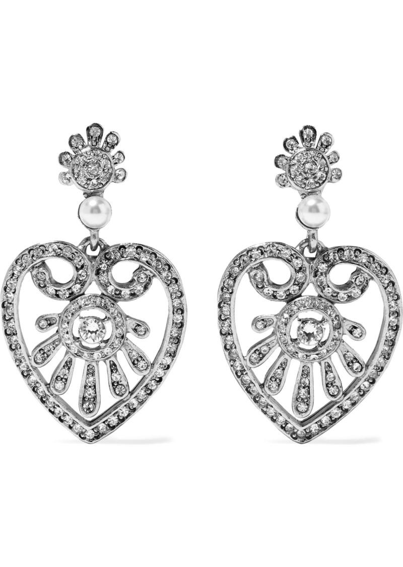 Oscar De La Renta Woman Heart Drop Gold-tone Faux Pearl And Crystal Clip Earrings Silver