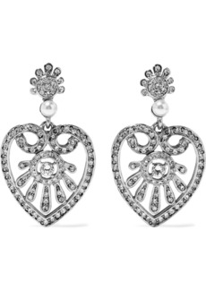 Oscar De La Renta Woman Heart Drop Silver-tone Faux Pearl And Crystal Clip Earrings Silver